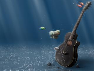 обои Гитара в воде фото
