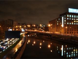обои Ночная Москва,   огни,   река. фото