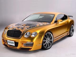 обои для рабочего стола: ASI Bentley W66 GTS Gold  оранжевая тюнингованная