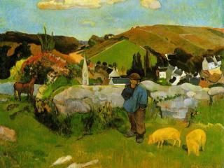 обои Пейзаж со свинопасом,  Бретань фото