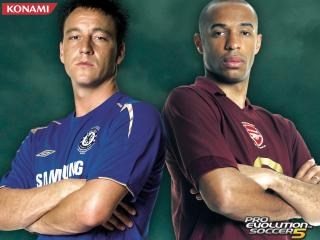 обои Pro Evolution Soccer 5 John Terry and Thierry Henry фото