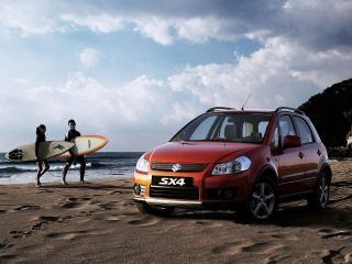 обои Suzuki SX4 и серфингисты фото