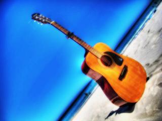 обои Гитара на пляже фото