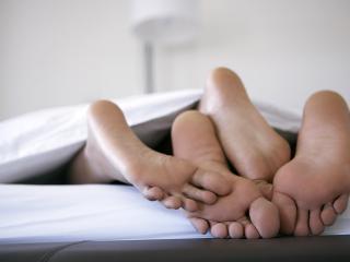 обои Четыре ноги из под одеяла фото