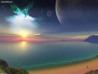 обои Волшебный закат над морем фото