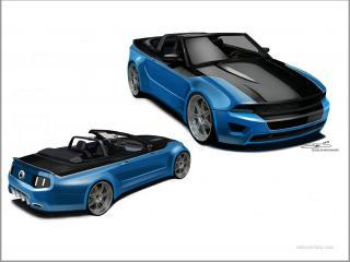 обои Ford mustang сине-чёрный фото