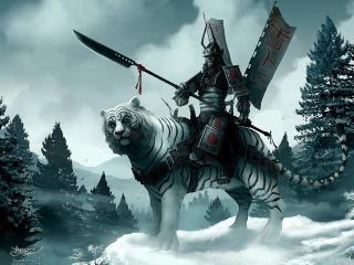 обои Японский воин на тигре фото