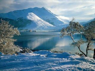 обои Снег у воды фото