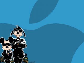 обои Микки и Гуфи в черном фото