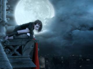 обои Девушка и полная луна фото