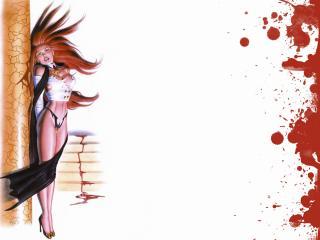 обои Девушка и кровь фото