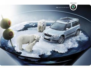 обои Skoda Yeti реклама с медведями фото