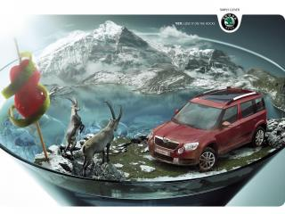 обои Skoda Yeti реклама с горными козлами фото