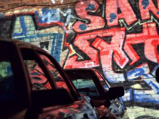обои Граффити  на стоянке фото