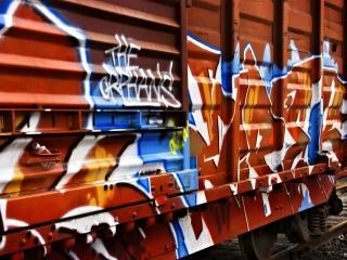 обои Граффити на вагоне поезда фото