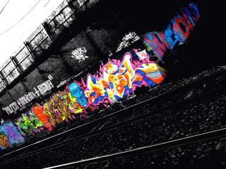 обои Яркое граффити в сером мире фото