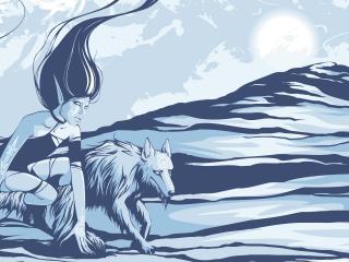обои Девушка и волк фото