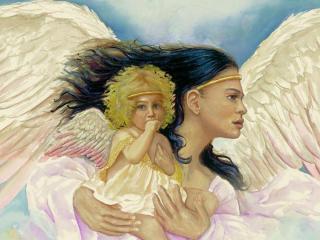 обои Ангел с ребенком фото