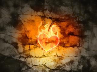 обои Огненное сердце на стене фото