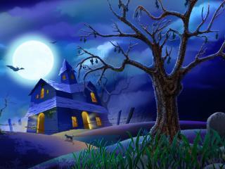 обои Дом у кладбища Хэллоуин фото