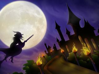 обои Замок ведьмы Хэллоуин фото