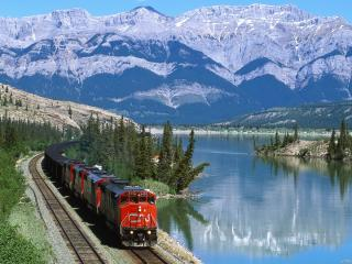 обои Поезд на фоне горного озера фото