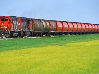 обои Красный поезд и зеленеющий луг фото