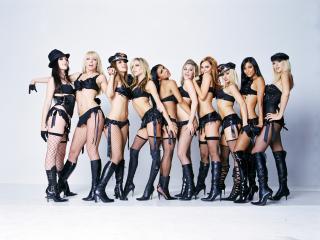 обои Pussycat Dolls в черном белье фото