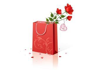 обои Цветы в подарочном пакете фото