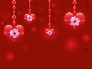 обои Висячие сердечки с узором цветов фото