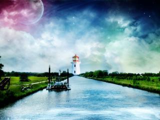 обои Канал к маяку фото