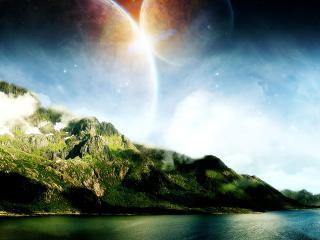 обои Две планеты над горами фото