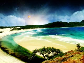 обои Воздушный шар над побережьем фото
