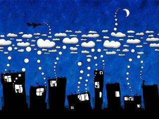 обои Дома,   облака,   самолётик фото