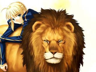 обои Девушка со львом фото