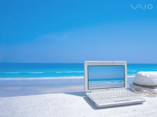 обои Sony Vaio на пляже фото