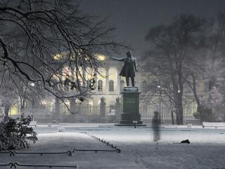 обои Памятник зимой фото
