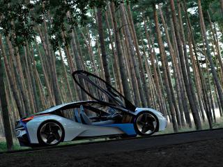 обои BMW EfficientDynamics Concept side view с открытыми дверями фото