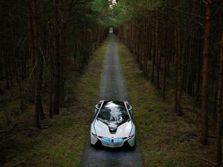 обои BMW EfficientDynamics Concept front view в лесу в далеке фото