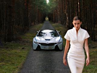 обои Женщина и взади неё великолепный BMW EfficientDynamics Concept фото