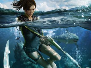 обои для рабочего стола: Tomb Raider Shark Attack