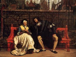 обои Фауст и Маргарита в саду фото