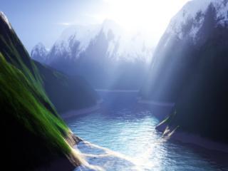 обои Озаренная река фото