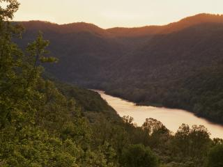 обои Sunset Glow on the New River,   New River Gorge National River,   West Virginia фото