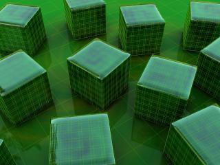 обои Green 3D Cubes фото