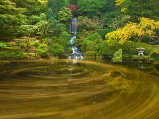 обои Декоративный пруд в японском саду с водопадом фото