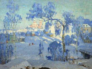 обои для рабочего стола: Зимний пейзаж с церковью