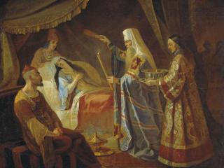 обои Исцеление Митрополитом Алексеем Тайдулы,   жены Чанибека,   Хана Золотой Орды фото