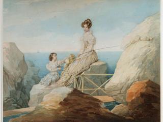 обои Портрет императрицы Александры Фёдоровны и великой княгини Марии Николаевны на берегу фото