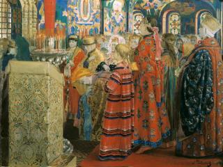 обои Русские женщины XVII столетия в церкви фото